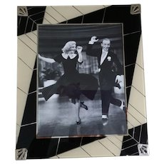Vintage Art Deco Reverse Painted Photo Picture Frame Black Cream Silver for 8 x 10 With Easel Back
