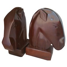 Carved Solid Mahogany Horse Head Book Ends Carib Craft Haiti