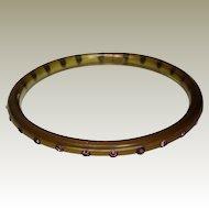 Celluloid Sparkler Bangle Flapper Bracelet Green with Purple Rhinestones