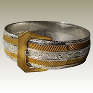 Vintage Buckle Bracelet ¾ In wide Goldtone Silvertone Textured