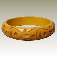 Bakelite Bangle Bracelet Butterscotch Slash Carved plus Sucker or Bulls Eye Carvings Bullseye Targets