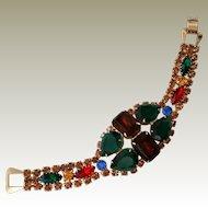 Big Bold Rhinestone Bracelet Looks Unworn Lg Multi Color Pear and Emerald Cuts
