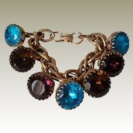 Chunky Cha Cha Charm Bracelet Huge Jeweltone Glass Chaton Rhinestone Charms