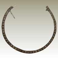 Sterling Vintage Single Row Line Bracelet with Clear Pastes Deco Era