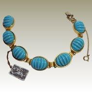 Castlecliff Bracelet Orig Tag Turquoise Ribbed Plastic Sets Gold Tone