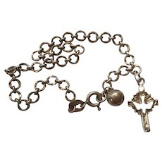 Sterling Bracelet with Dove of Peace in Ornate Cross