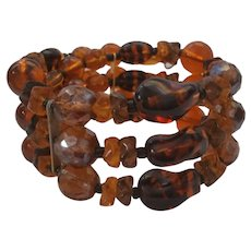 Dark Amber Glass Bead 3 Strand Memory Wire Bracelet