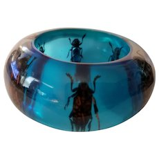 Huge Chunky Exotic Insect Bug Bracelet Clear over Blue Lucite