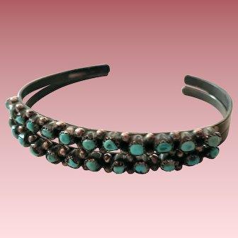 Pair Zuni Petit Point Cuff Bracelets Natural Nugget Cabochons