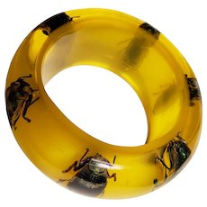 Ultra Huge Exotic Insect Lucite Bracelet Almost 3 Inches ID