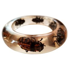 Clear Lucite Exotic Bug Insect Bangle Bracelet