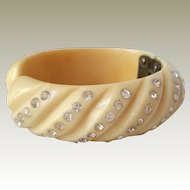 Creamy Hinged Bangle With Rhinestones Unsigned
