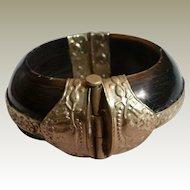 Thick Horn Hinged Bangle Ornate Silvertone Trim