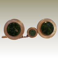 LaMode Jade Gold Filed Cufflinks and Tie Tack