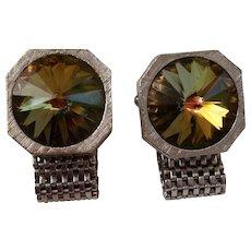 Metal Mesh Wrap Style Cufflinks with Green Rivoli Color Change Rhinestones