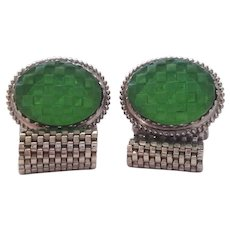 Green Checkerboard Top Cabochon Wrap Mesh Cufflinks