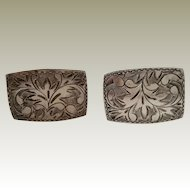 Cuff Links Vintage Chased 950 Silver