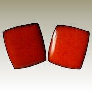 Brondsted Denmark Glazed Pottery Earrings 1960s Red Orange