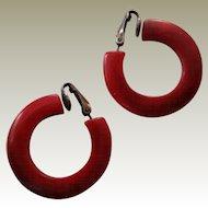Bakelite Hoop Earrings Dark Cherry Red with Black Marbling Clip On