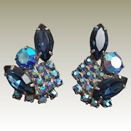 Montana Blue and Blue AB Rhinestone Clip Earrings