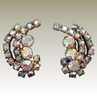 Aurora Borealis Rhinestone Crystal Prong Set Gold Tone Clip on Earrings