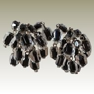 Clear with Black Centers Faceted Bead Earrings