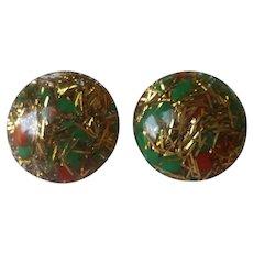 Glitter Lucite Button Clip On Earrings