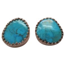 Cortes Sterling Turquoise Mexico Post Earrings