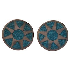 Mexico Sterling and Turquoise Chip Inlay Earrings