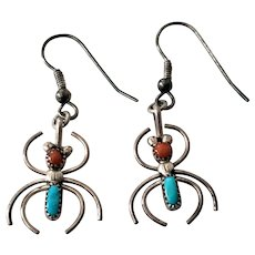Spider Earrings Native American Sterling Turquoise Coral