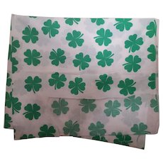 Four Leaf Clover Fabric Green on White Cotton Four Leaf Clover Fabric Green on White Cotton