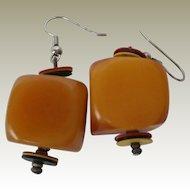 Large Cube Butterscotch Bakelite Earrings