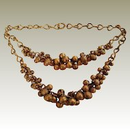 Textured Gold Plated Brass Ball Button Bib Necklace 1930s