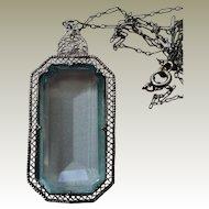 Lg Faux Aquamarine in Filigree Pendant Necklace Fancy Chain Rhodium Art Deco Era