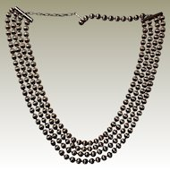 Coro Ball Chain 4 Strand Necklace Larger Ribbed Look Beads Adjustable Length