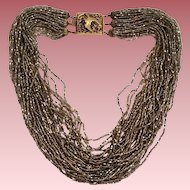 Italian Seed Bead Torsade Necklace Ornate Abstract Clasp Marked Made Italy