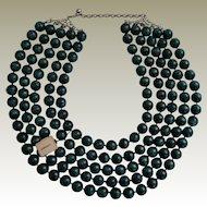 Large Vintage Five Strand Teal Beaded Necklace Original Tag Newman's Dept Store Enid OK