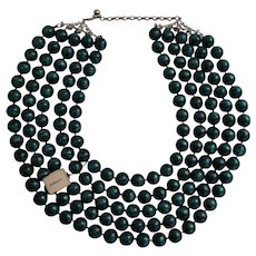 Lg Vintage Five Strand Teal Beaded Early Plastic Necklace Original Tag Newman's Dept Store Enid OK