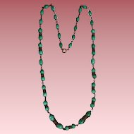 Vintage Peking Glass Necklace of Faux Jade Art Glass Beads With Filigree Spacers
