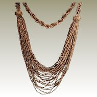 Bronze Iris Seed Bead Bib Front Necklace 28 Strands with Twisted Braid Back Section