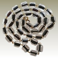 Clear with Black Centers Faceted Bead Necklace