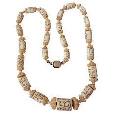 Tan and Cream Czech Molded Glass Bead Necklace