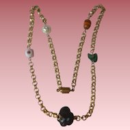 Rolo Chain Necklace with 5 Different Glass Beads