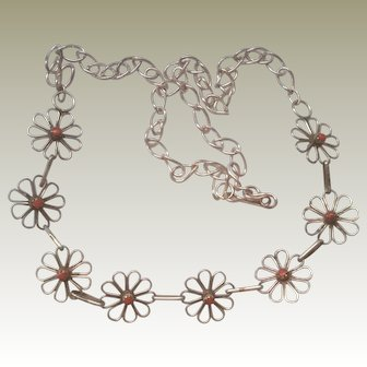 Sterling NA Necklace Coral One Side Reverse Turquoise on Other