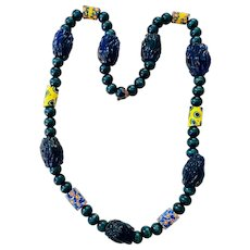 African Trade Beads Wood and Cobalt Glass Bead Necklace