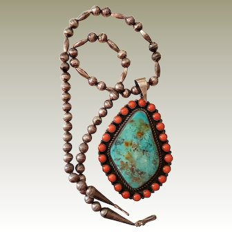 XL Herman Smith Navajo Sterling Turquoise Coral Necklace