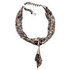 Unusual Silvertone Metal Mesh Necklace