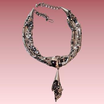 Unusual Silvertone Metal Mesh Necklace