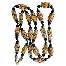 African Trade Beads Necklace Red Black Yellow White Black Round Spacers
