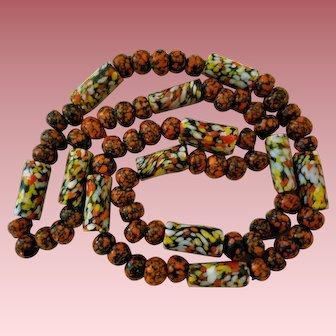 African Trade Beads Necklace Orange Black Yellow